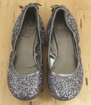 Maria Sharapova Cole Haan Glitter Silver Sequin Gray Air Bacara Ballet F... - $43.95