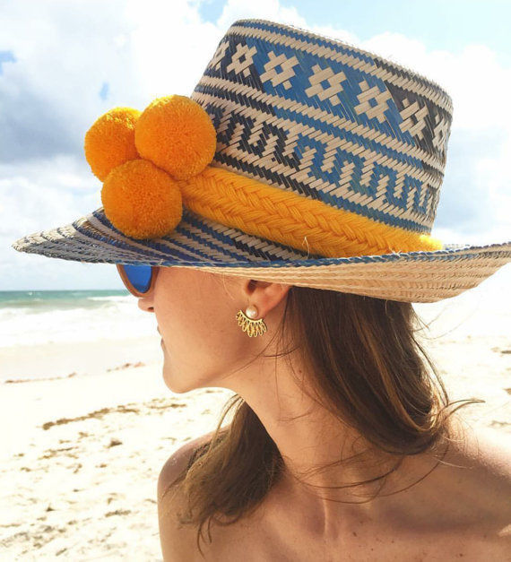 Primary image for ALL COLORS Wayuu Hat Woven Straw HandCrafted Stylish Pompom Panama Hat Sun  2