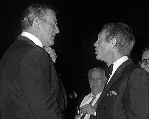John Wayne Steve Mcqueen Rare Candid B/W In Tuxedo 1960'S Event 16X20 Canvas Gic