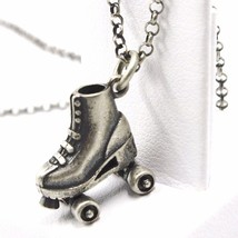 Necklace and Pendant, Silver 925, Burnished Satin, Skate to Castors, Chain image 2