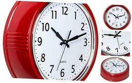 Retro Wall Clock 9.5 Inch Red Kitchen 50's Vintage Design Candy Apple Red - $25.47