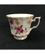 Pink Blue Yellow Floral Gold Teacup Backstamp Stamped H Peacocks Made in... - $17.81