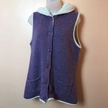 LL Bean Purple Sherpa Lined Hooded Sweater Vest Women M Outerwear - $21.77