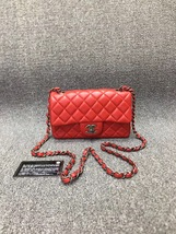 100% AUTHENTIC CHANEL RED QUILTED LAMBSKIN LARGE MINI RECTANGULAR FLAP BAG