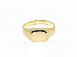 18K YELLOW GOLD BAND MAN RING RECTANGULAR ENGRAVABLE BRIGHT SMOOTH MADE IN ITALY image 1