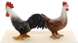Hagen-Renaker Miniature Ceramic Chicken Figurine Leghorn Black Rooster & Red Hen image 2