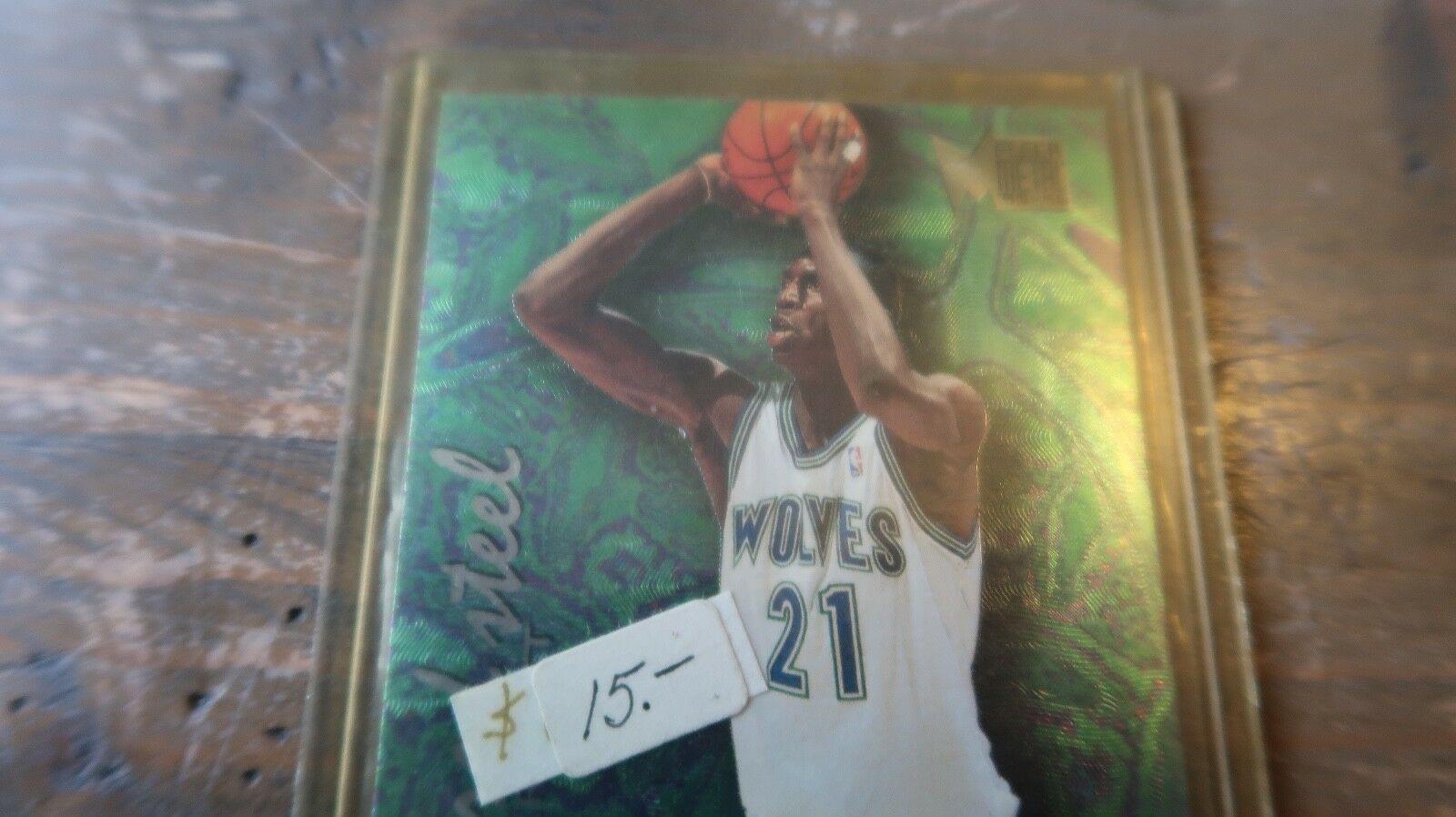 """KEVIN GARNETT 1995/1996 FLEER METAL """" TEMPERED STEEL """" ROOKIE Card #4 of 12 image 2"""