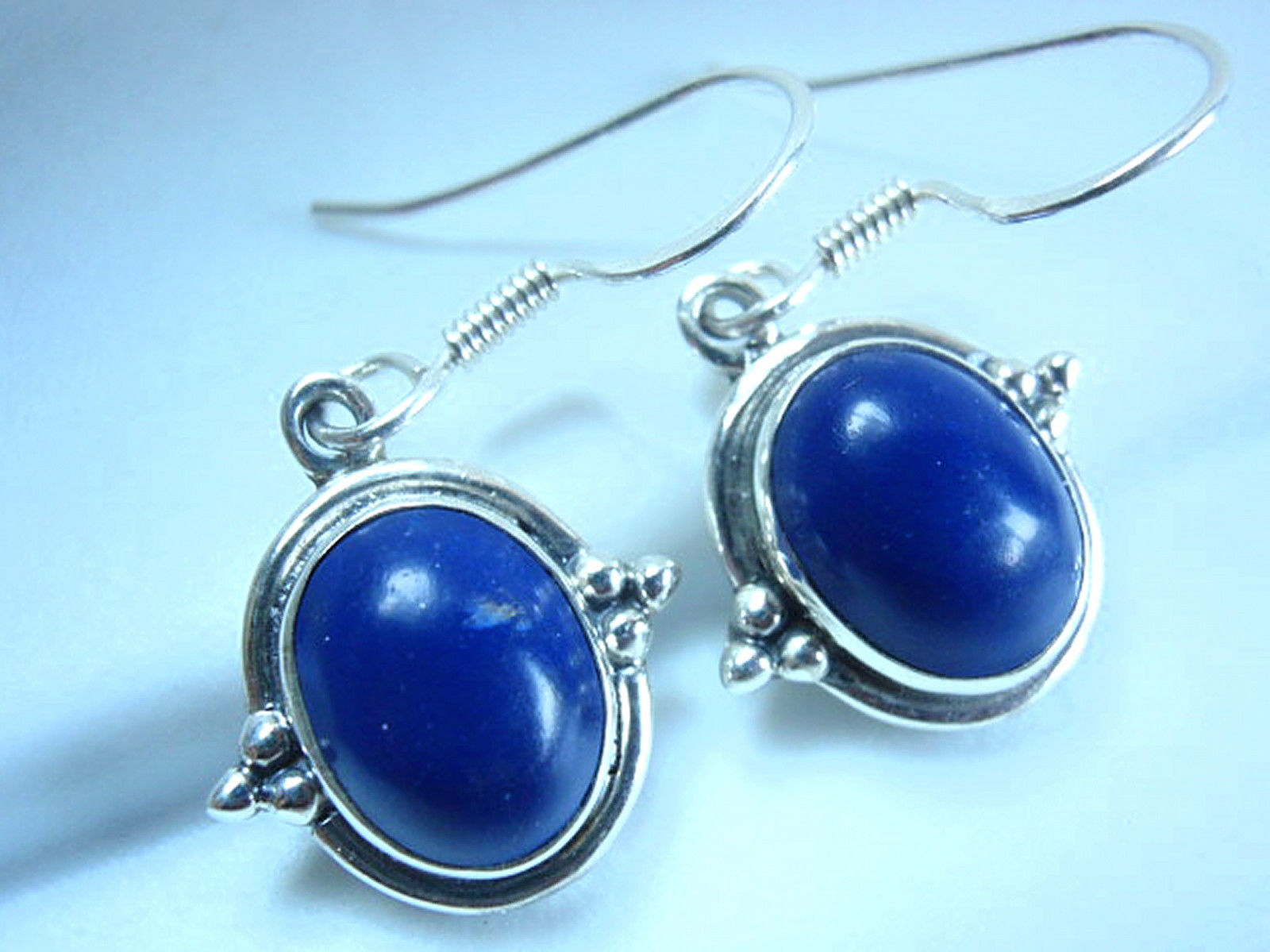 Primary image for Lapis Lazuli Oval 925 Sterling Silver Dangle Earrings