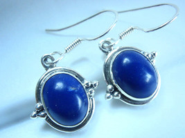 Lapis Lazuli Oval 925 Sterling Silver Dangle Earrings - $19.75