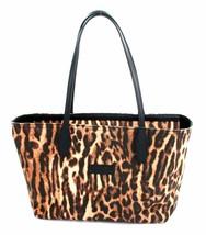 Ralph Lauren Marrón marrón y Negro Estampado Leopardo Lona Bolso Asa Larga - $155.71