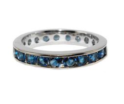Round Cut Blue Sapphire AAA Cubic Zirconia Eternity Band Ring-Great Ring Guard - $19.99