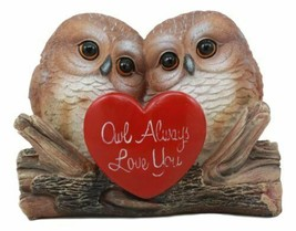 Romantic Owl Couple Statue Owl Always Love You Owl Lovebirds Holding Hea... - $21.99