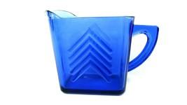 Hazel Atlas Cobalt Blue Depression Glass Milk Syrup Creamer Pitcher Cheveron Pat - $14.85