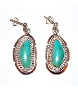 Native American Navajo Earrings Sterling Silver Turquoise Post Dangle Ea... - $119.00