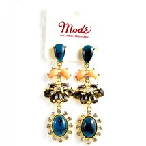 """Mode Blue Shourouk Style Look Lucite 2.75"""" Drop Dangle Post Earrings New w Tag image 4"""
