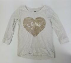 Old Navy Girls Beige w/ Gold Heart Love Long Sleeve Shirt Sz XS 5 Regular EUC - $5.89