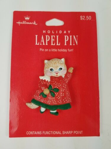 Primary image for Hallmark Christmas Holiday Label Pin Cat Kitty Kitten in Red Dress Green Holly