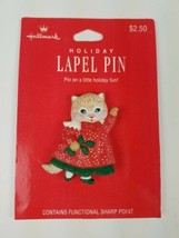 Hallmark Christmas Holiday Label Pin Cat Kitty Kitten in Red Dress Green... - $9.65
