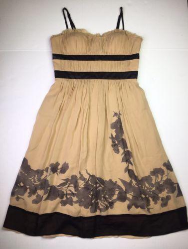 BCBG Paris Floral Print Empire Waist Tea Princess Silk Dress Size 8