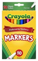 Crayola Classic Markers 10ct Fine Line 100 Markers Total Lot of 10 Packs... - $23.36