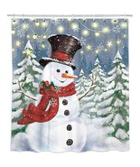 Bonsai Tree Snowman Shower Curtain, Waterproof Christmas Bathroom Curtai... - $39.11+