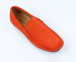 New Alfani Orange Woven Suede Driver Mocc ASIN S Kendric Loafers Shoes 10 - $19.79