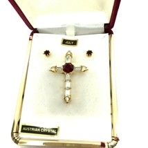 Vintage Brooch Earrings PSCO Austrian Crystal Rhinestone Red July Cross ... - $39.59