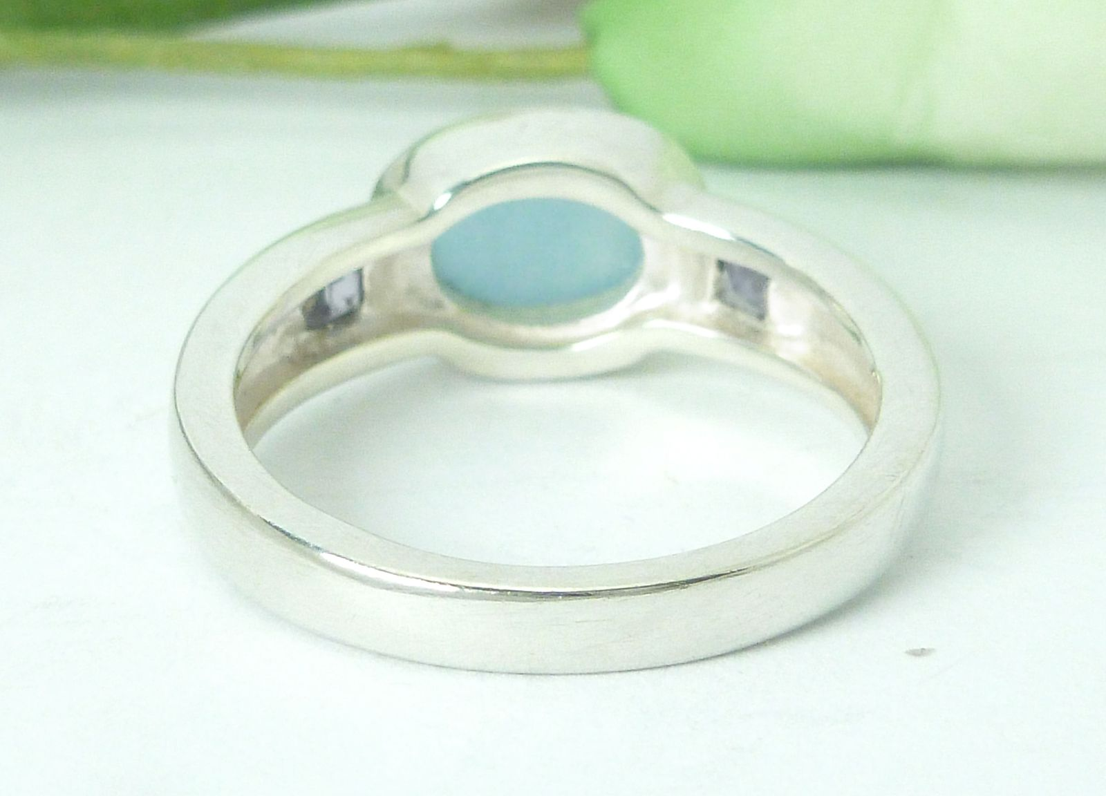 Sterling Azure Jadeite and Iolite Ring Size 7