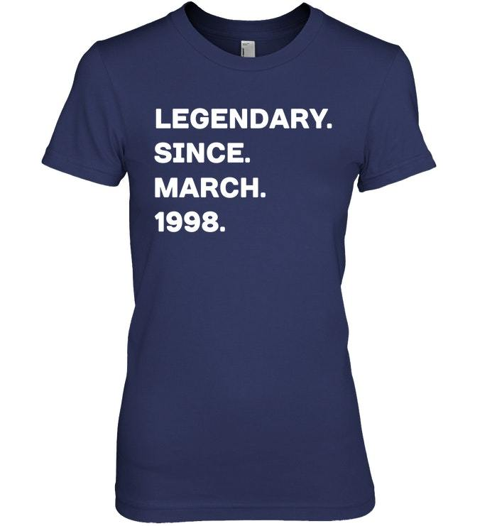 Legendary Since March 1998 20th Years Old Birthday Shirt image 2