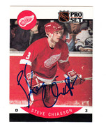 1990-91 PRO SET SIGNED AUTO CARD STEVE CHIASSON RED WINGS HURRICANES FLA... - $16.99