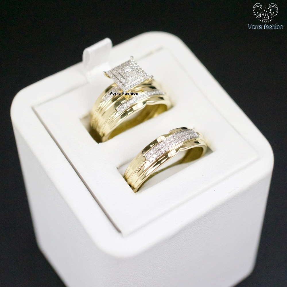 Primary image for 14K Yellow Gold .25Ct Round Cut Diamond Mens Ladies Bridal Wedding Ring Trio Set