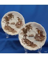 """Johnson Brothers The Old Mill Saucers Set of 2 Brown w Multicolor  5-5/8"""" - $9.93"""