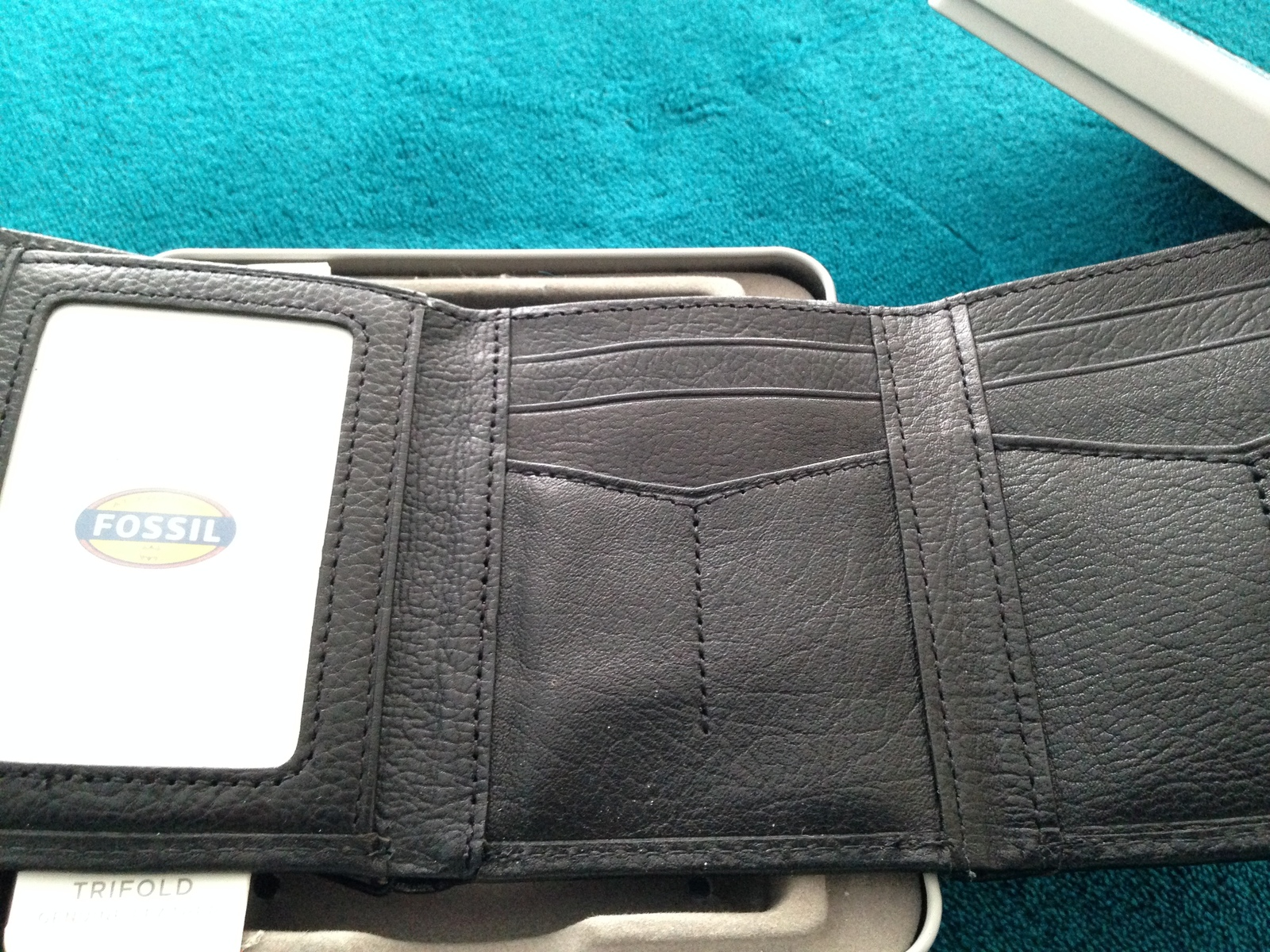 fossil trifold wallet black genuine leather with window
