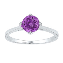Sterling Silver Womens Round Lab-Created Amethyst Solitaire Ring 3/4 Cttw - £33.74 GBP