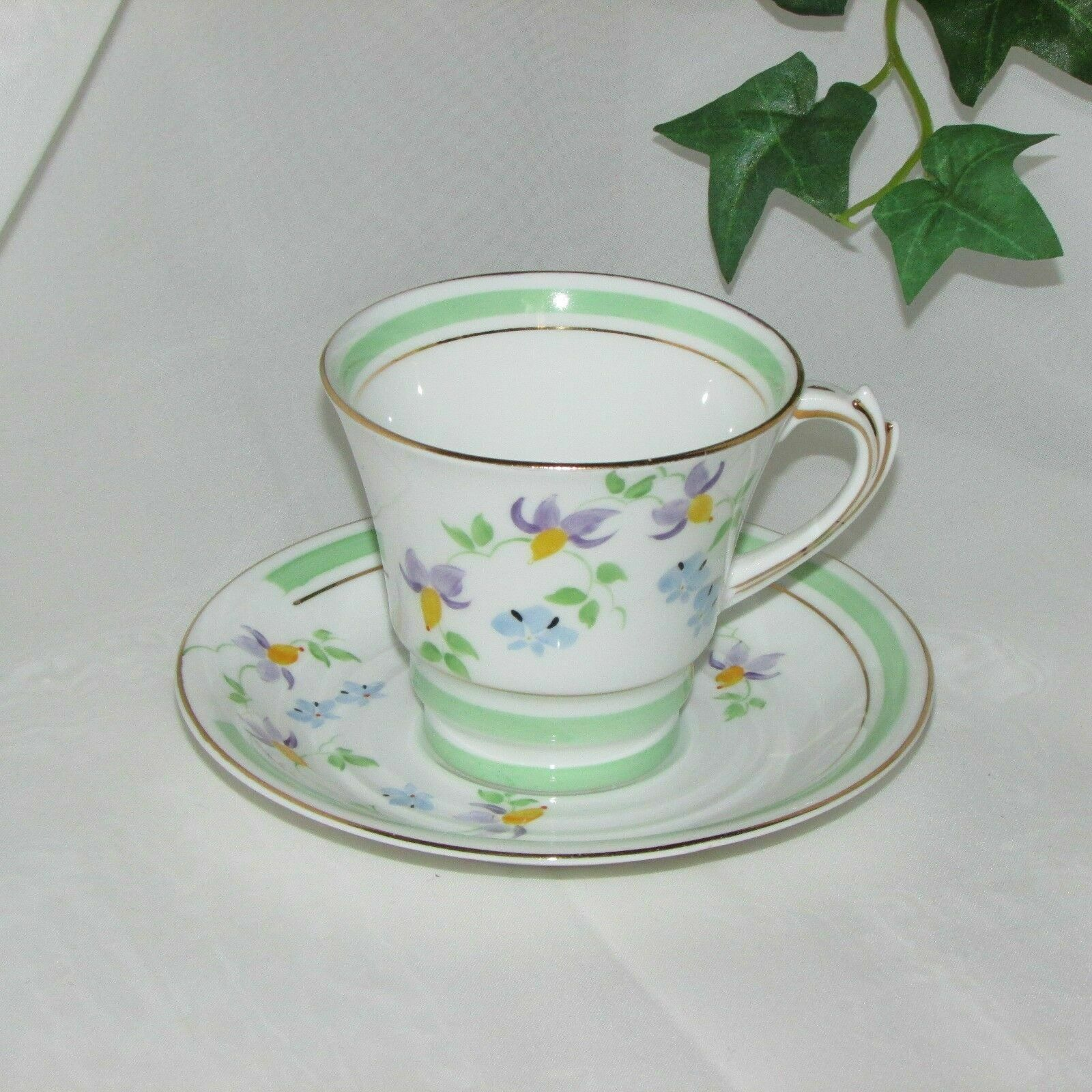 Primary image for ROSINA HAND PAINTED BONE CHINA TEACUP FLORAL CUP & SAUCER MINT GREEN BAND ENGLAN