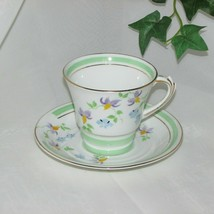 ROSINA HAND PAINTED BONE CHINA TEACUP FLORAL CUP & SAUCER MINT GREEN BAN... - $19.95