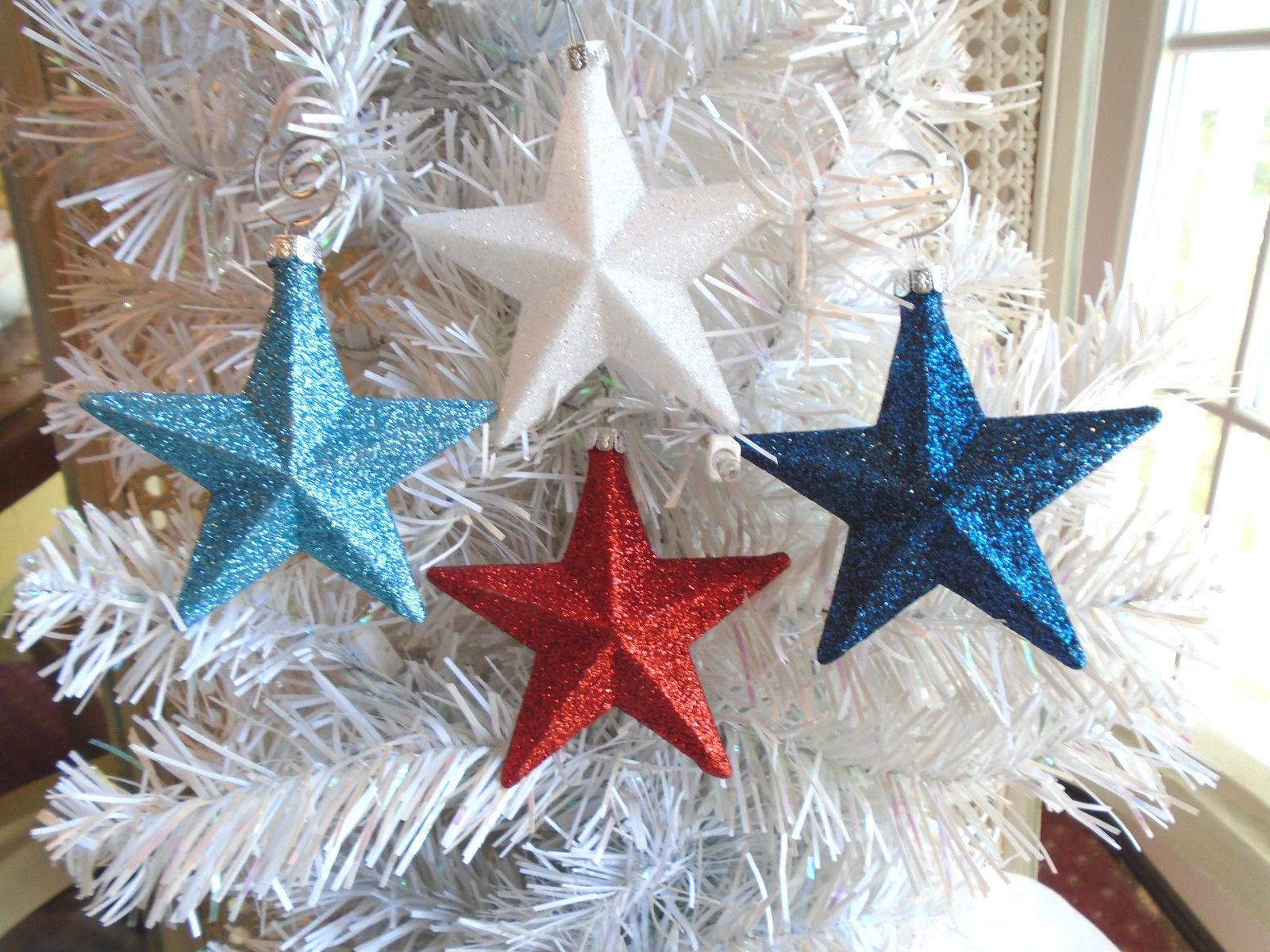 4 Red White Blue Navy Stars Glitter Ornaments Tree Patriotic