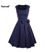 Dress Bow vintage Summer Party elegant cotton - $44.99