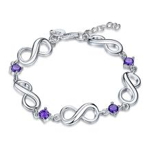 Swarovski Crystal Amethyst Infinity Bracelet in 18K White Gold Plated - $27.99