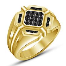 14k Yellow Gold Finish 925 Sterling Silver Mens Engagement Black Diamond... - $94.77