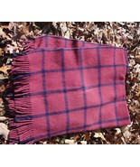 "Vtg ""pure new wool""plaid old carriage blanket maroon black stadium throw... - $18.00"