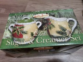 """HOLLY BIRDS"" HAND PAINTED CERAMIC SUGAR AND CREAMER CHRISTMAS SET - $18.51"