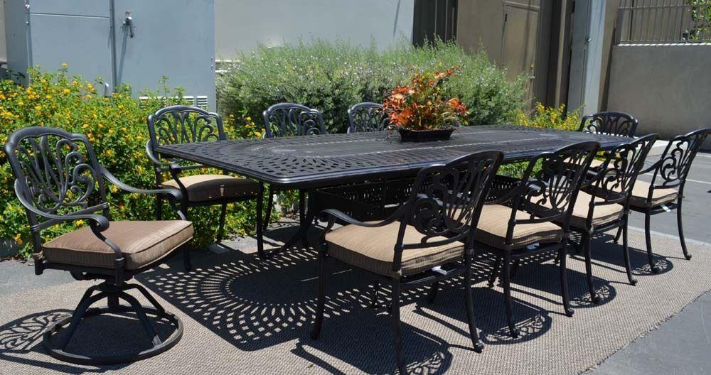 """11 piece aluminum outdoor dining set rectangle Santa Clara extension table 132"""""""