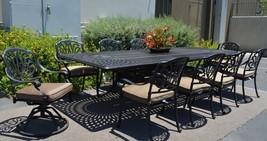 """11 piece aluminum outdoor dining set rectangle Santa Clara extension table 132"""" image 1"""