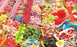 Candy Stand at Boqueria Market in Barcelona, Spain Colorluxe 750 pc Puzzle - $24.74