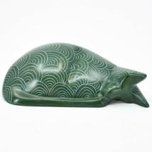 Vaneal Group Hand Carved Kisii Soapstone Green Sleeping Cat Figurine Made Kenya