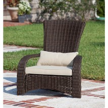 Outdoor Wicker Chair with White Cushion and Lumbar Pillow Lightweight Fu... - $120.19