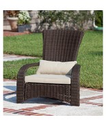 Outdoor Wicker Chair with White Cushion and Lumbar Pillow Lightweight Fu... - $149.99