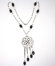 Silver necklace 925, Onyx Black Tube, Locket Stars and Circles Pendant image 2