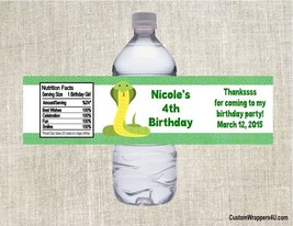 Reptile Snake Birthday Party Favors Water Bottle Labels Personalized - $3.96+